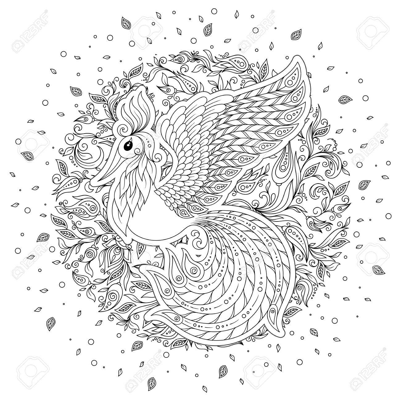 Aves Exóticas, Flores Fantásticas, Hojas. Firebird Para La Página ...