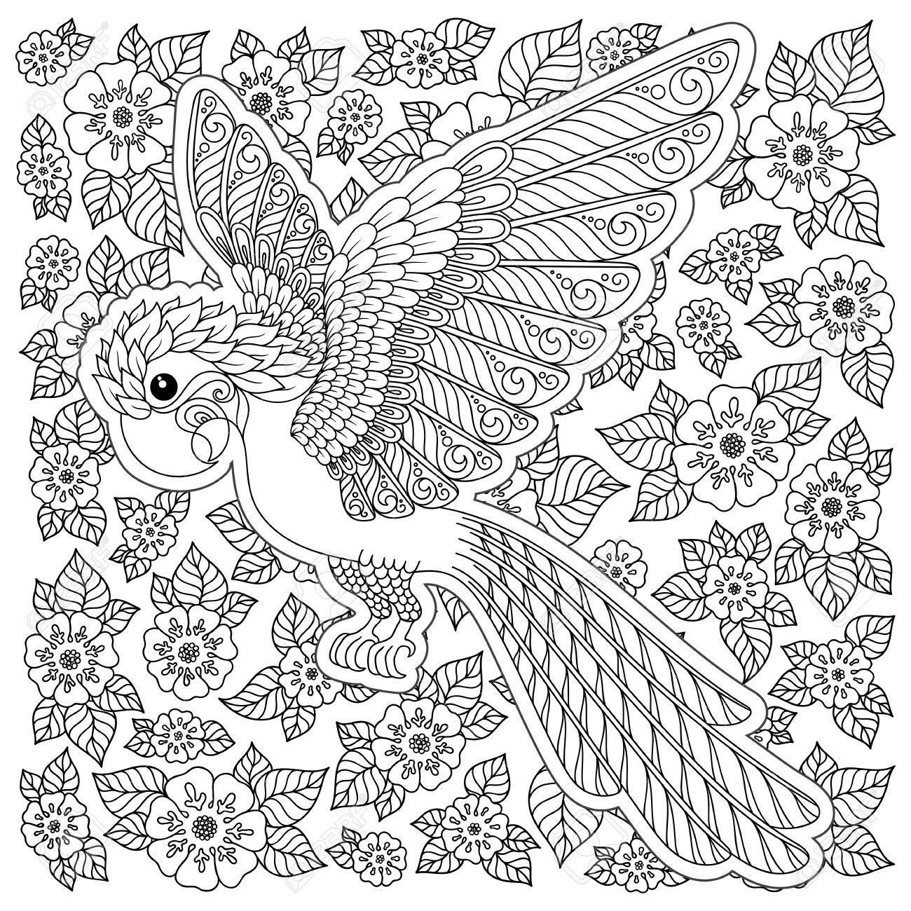 Pájaro Exótico Flores Fantásticas Ramas Hojas Dibujo De Líneas Finas De Contorno Fantasía De Vector Estilizada Cacatúa Selva Loro Silueta