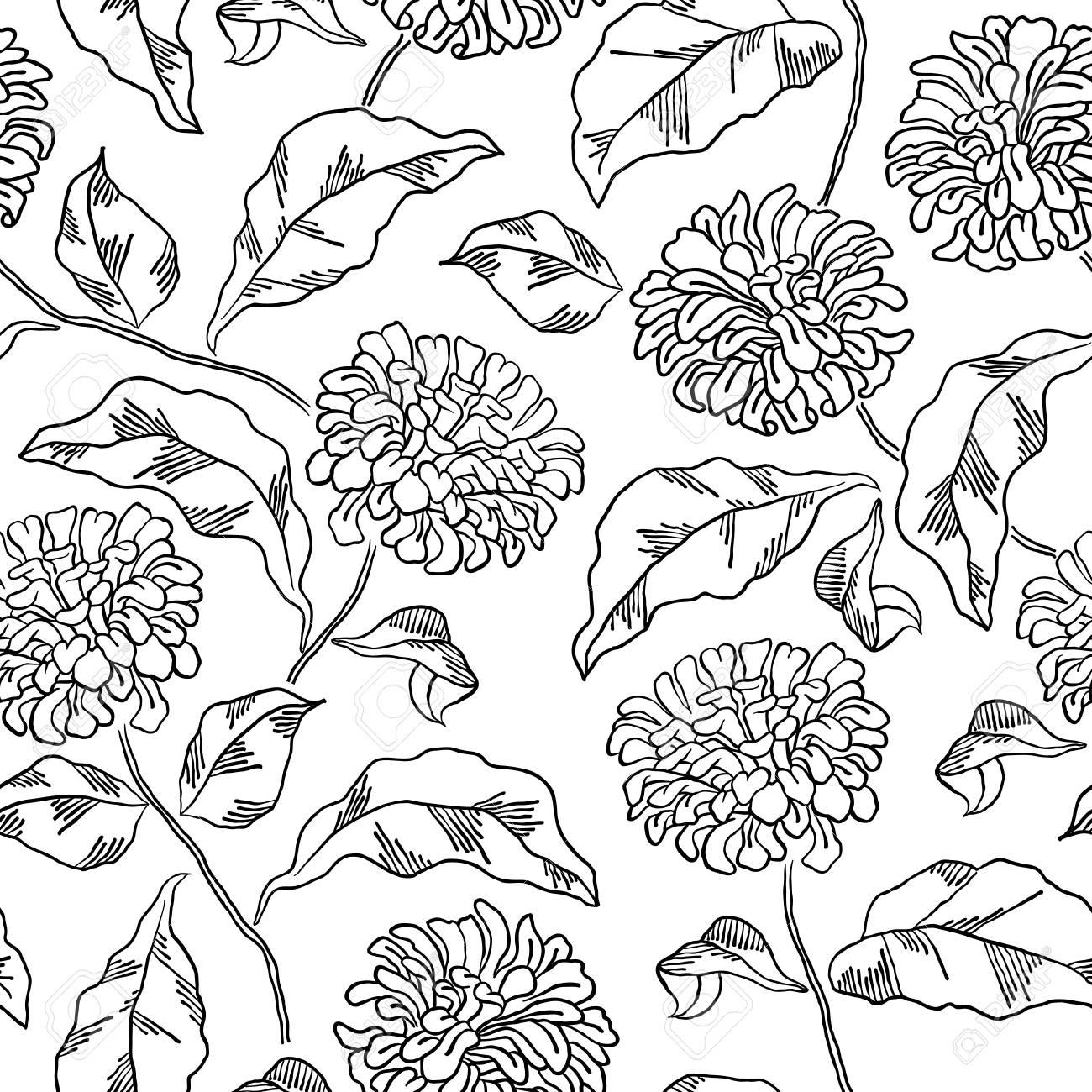 Patrón Con Flores De Crisantemo. Página De Libro Para Colorear Para ...