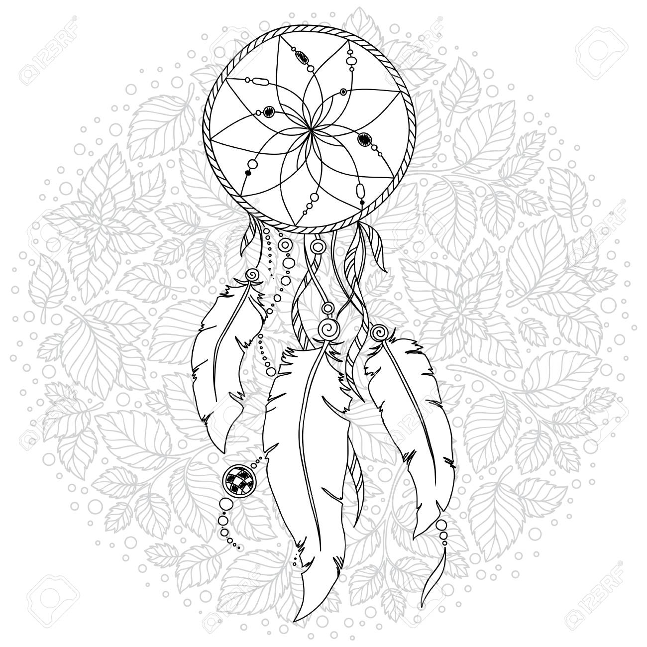- Dreamcatcher With Feathers And Flowers. Boho Style. Hand Drawn