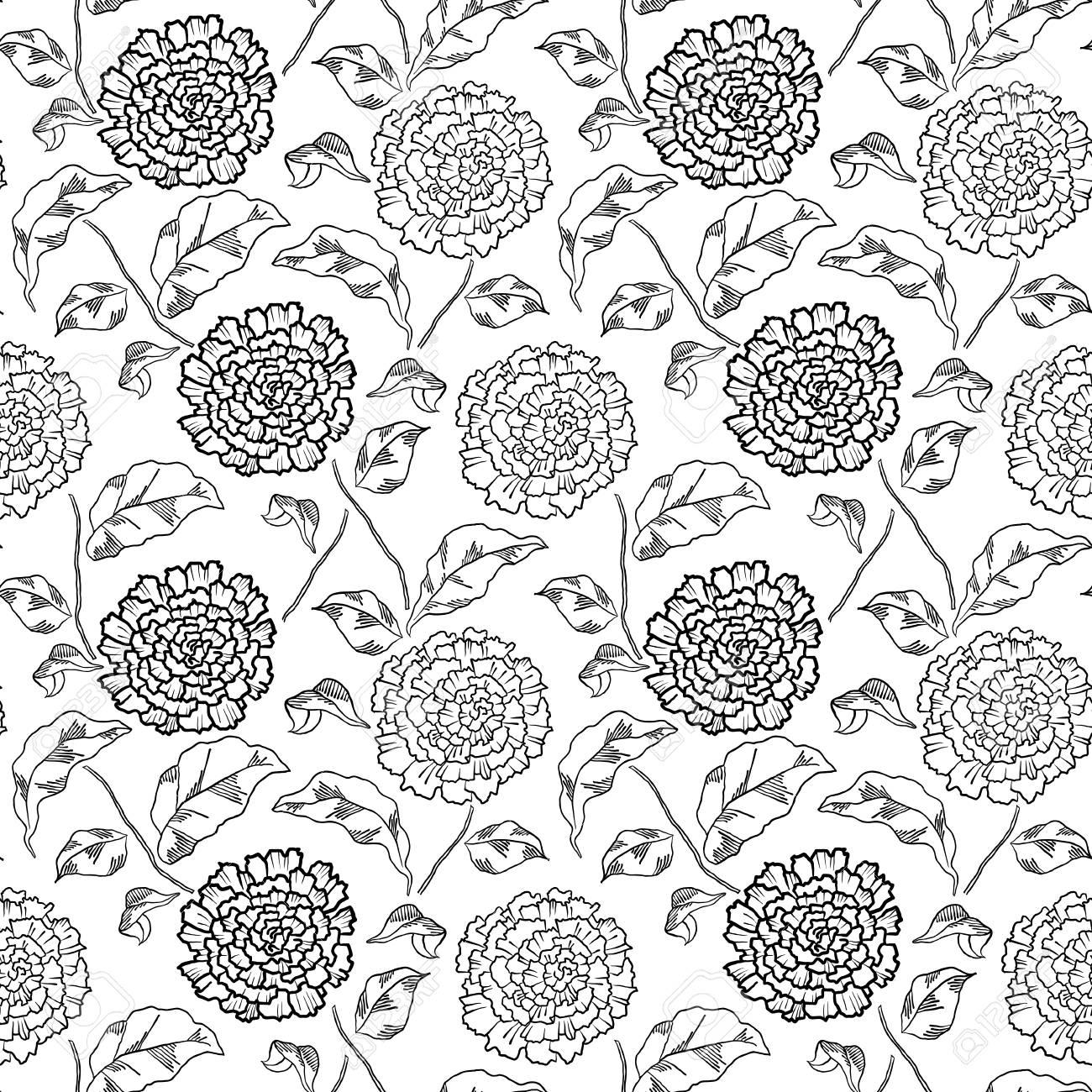 菊の花のパターン大人のぬりえ本のイラスト素材ベクタ Image 84560640