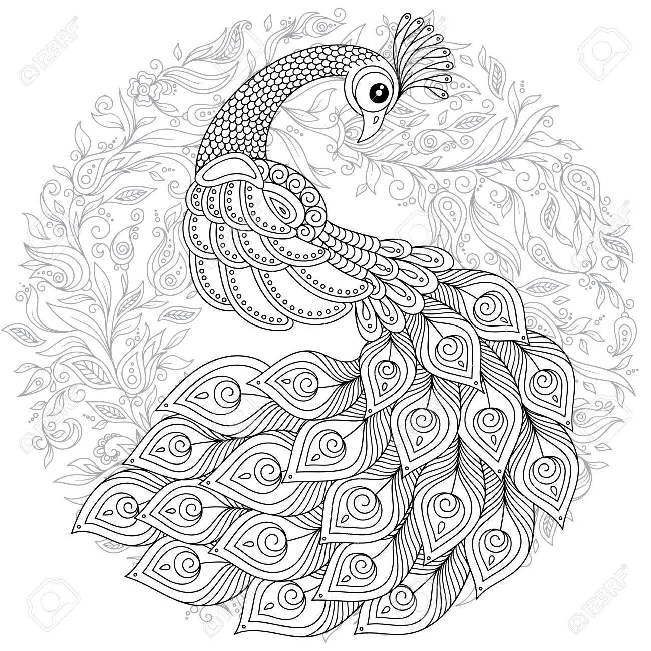 Fantástico Pavo Real Paisley Para Colorear Imágenes - Dibujos Para ...