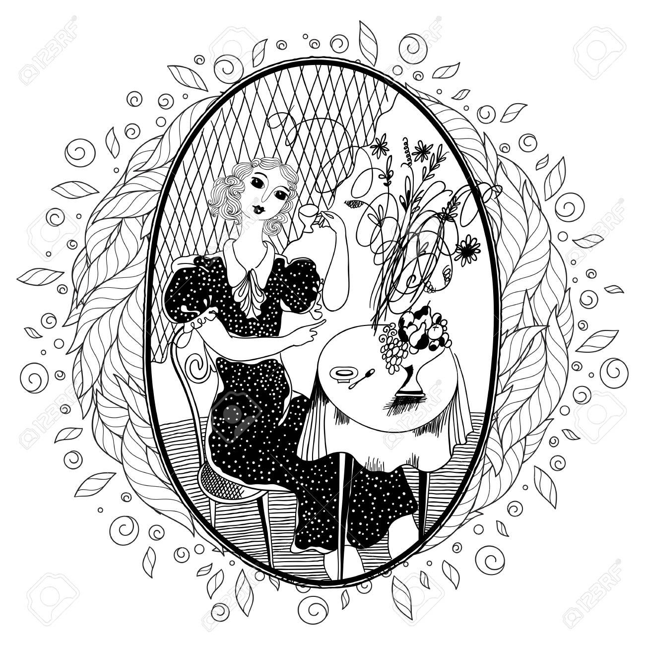 Patrón Para Colorear Libro Para Adultos Chica Vintage Bebiendo Café En Un Café En El Verano Conjunto De Ilustraciones