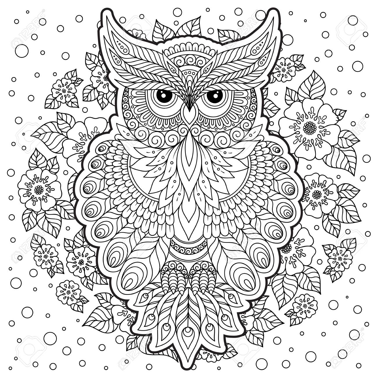 Coloring Book For Adult And Older Children. Coloring Page With Cute Owl.  Outline Drawing