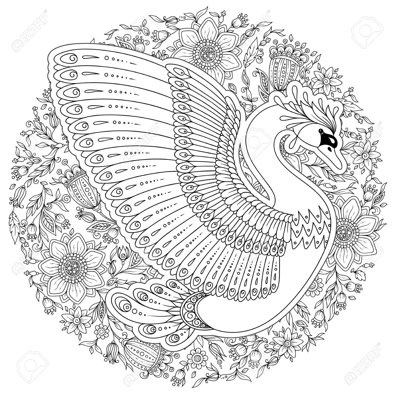 Hand drawing artistic Swan for adult coloring pages in doodle,..
