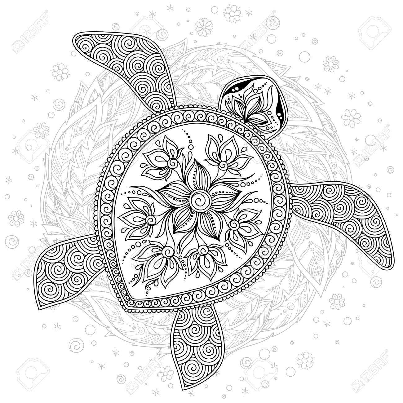 Coloring Book For Adults. Coloring Page. Turtle With Different ...