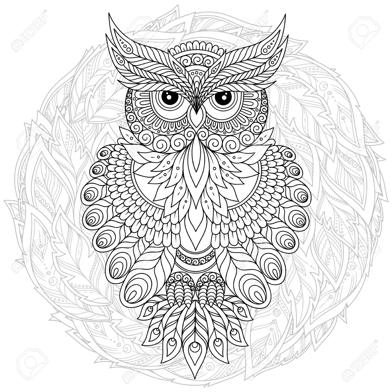- Decorative Cartoon Owl In Hand Draw Style. Page For Adult Coloring
