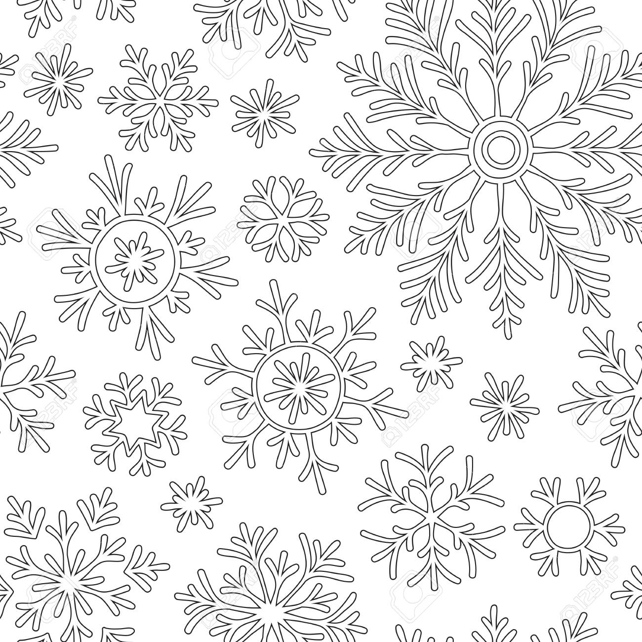 Anti-stress Coloring Book Page For Adult With Doodle Snowflakes ...