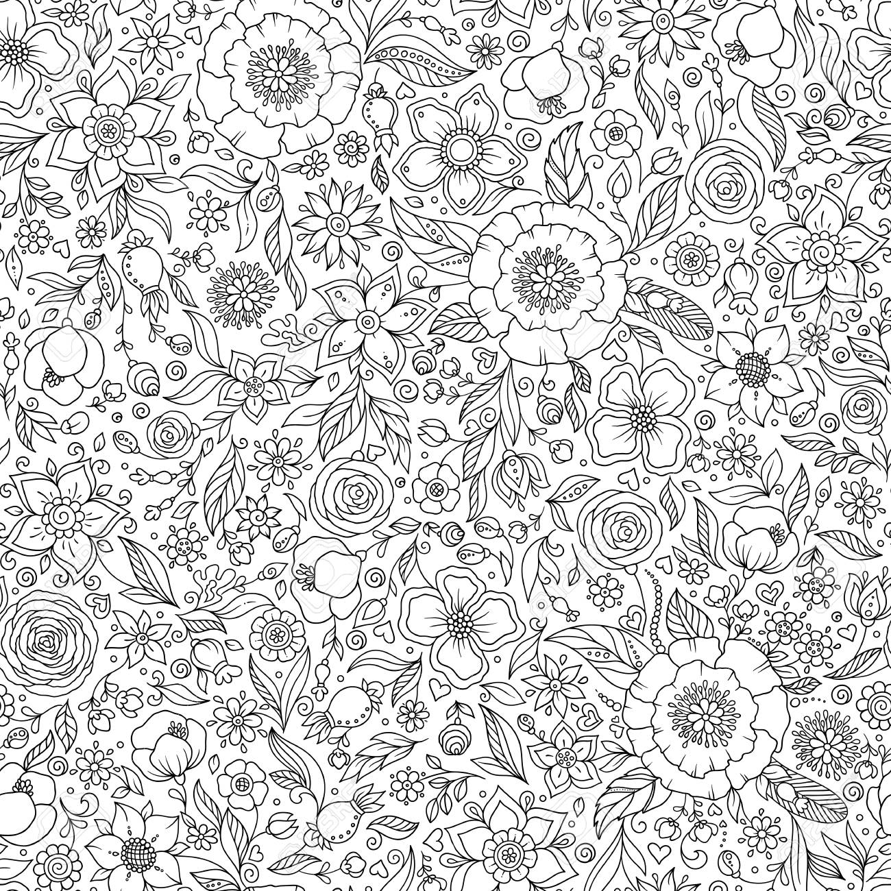Floral seamless pattern  Zentangle doodle background  Black and