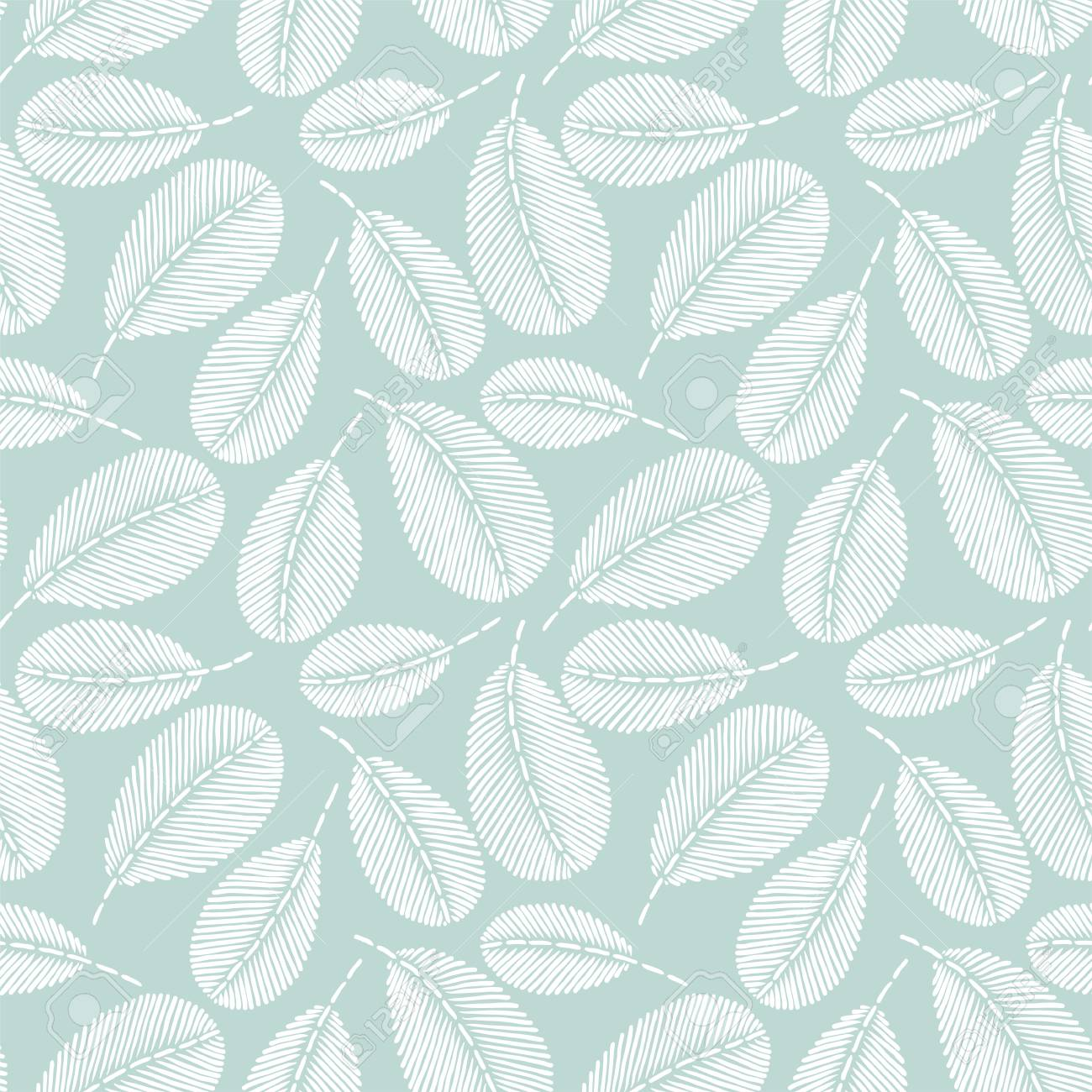 Banque dimages beautiful vintage hand drawn leaf seamless pattern cute decoration for home decor embroidery stitches imitation