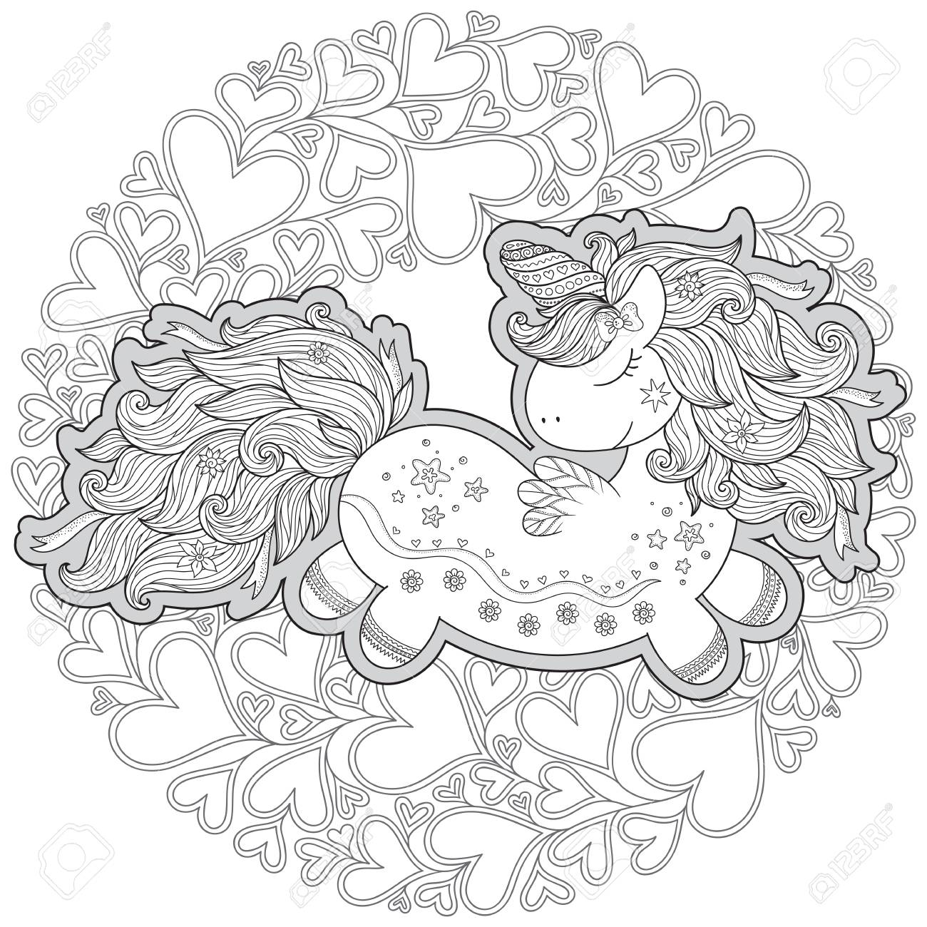 Unicorn In Hearts Coloring Book For Adult And Older Children Royalty Free Cliparts Vectors And Stock Illustration Image 127175344