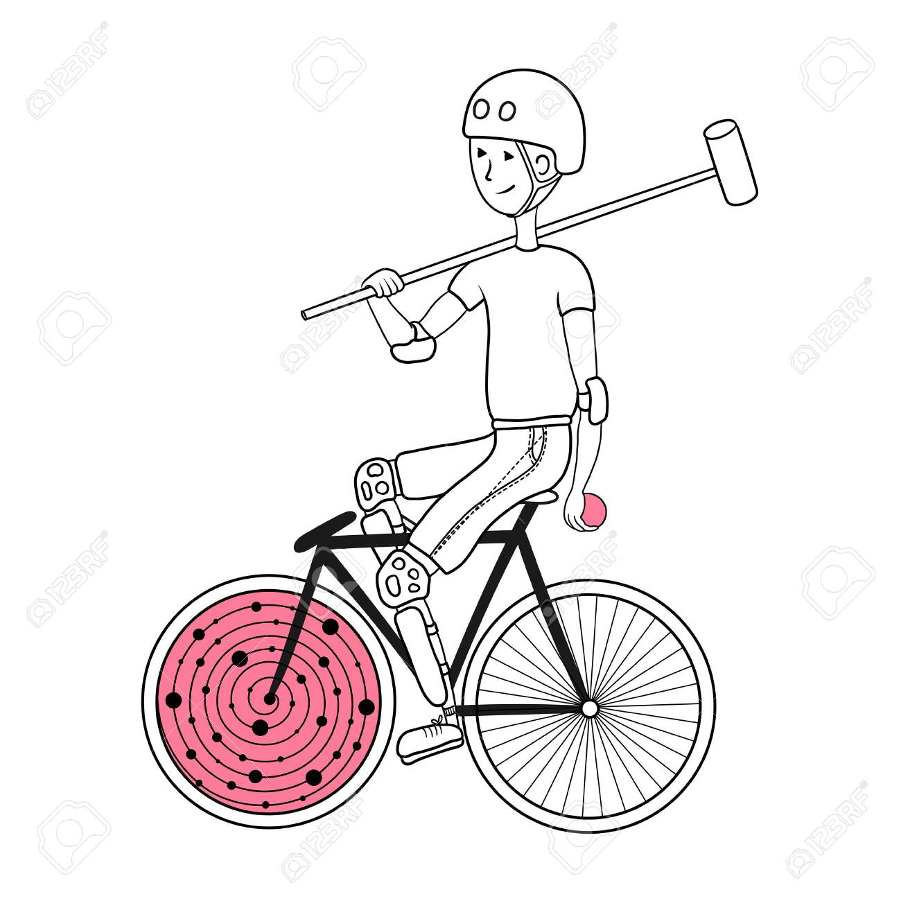 Polo bike player with bat and ball.. Can be used as a print on a t-shirt, coloring page for adults. - 149166433