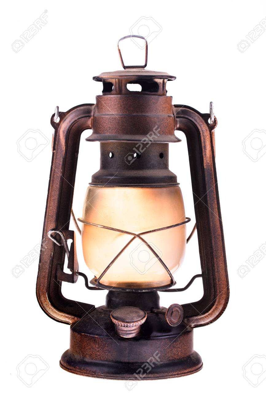 Gas Lantern With Burning Light, Isolated On A White Background ...