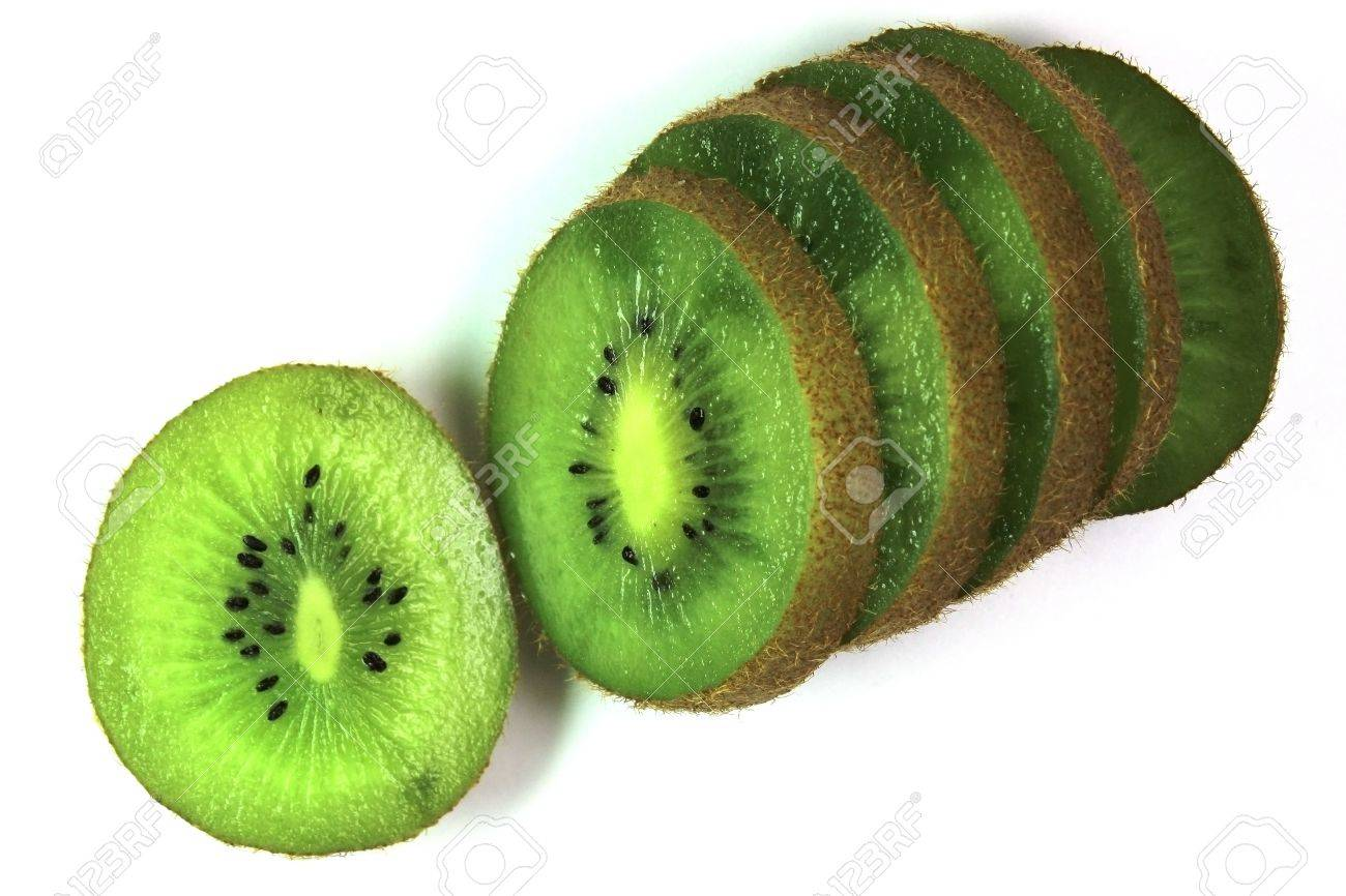 kiwi fruit cut on segments on a white background Stock Photo - 16655382