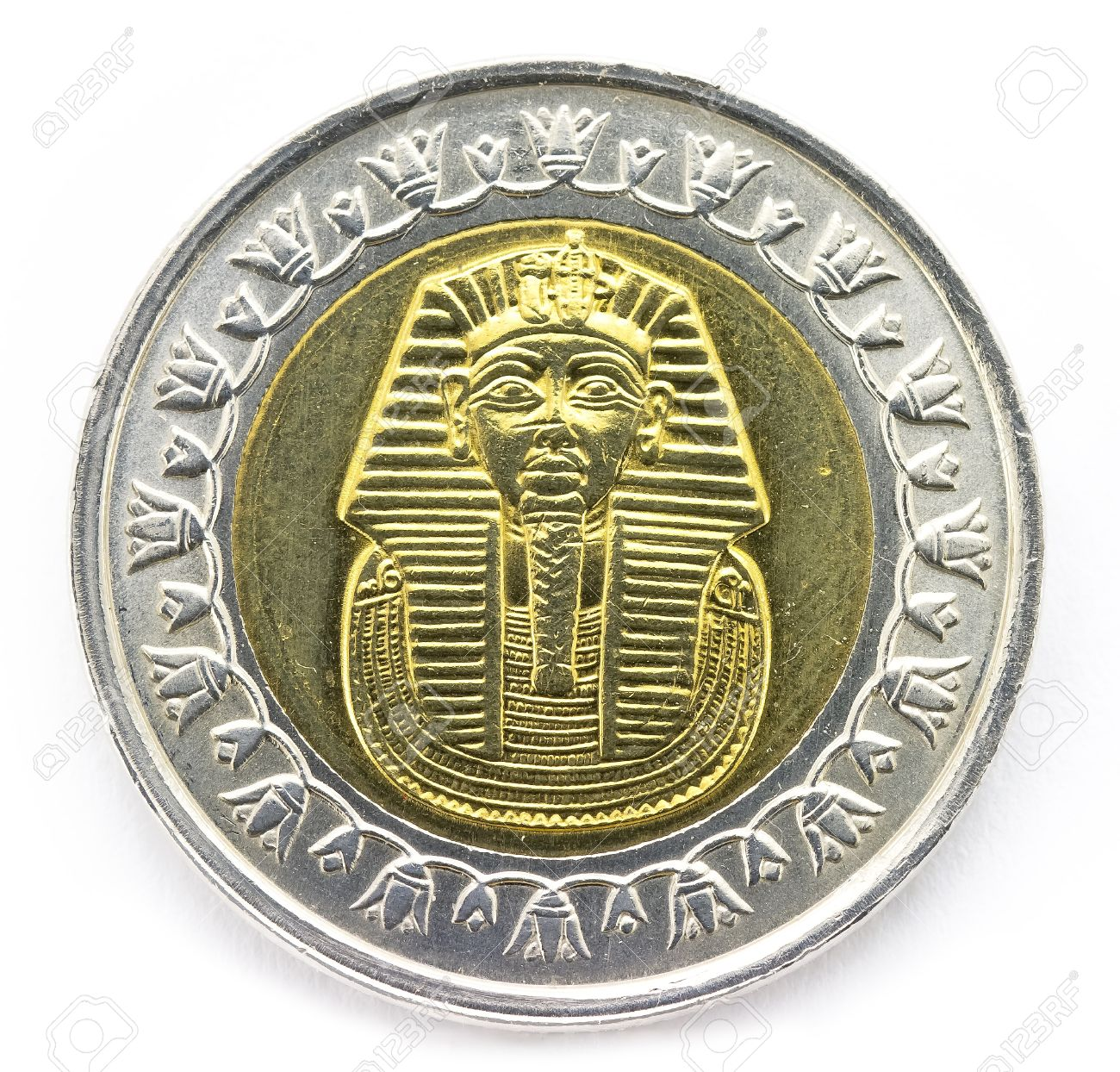 Arab Republic Of Egypt The Coin Of 1 Pound Shows The Pharaoh