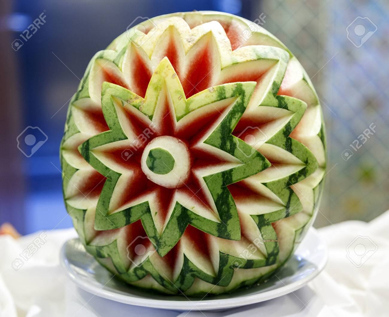 Cut watermelon decoration typical restaurants and cruises ways