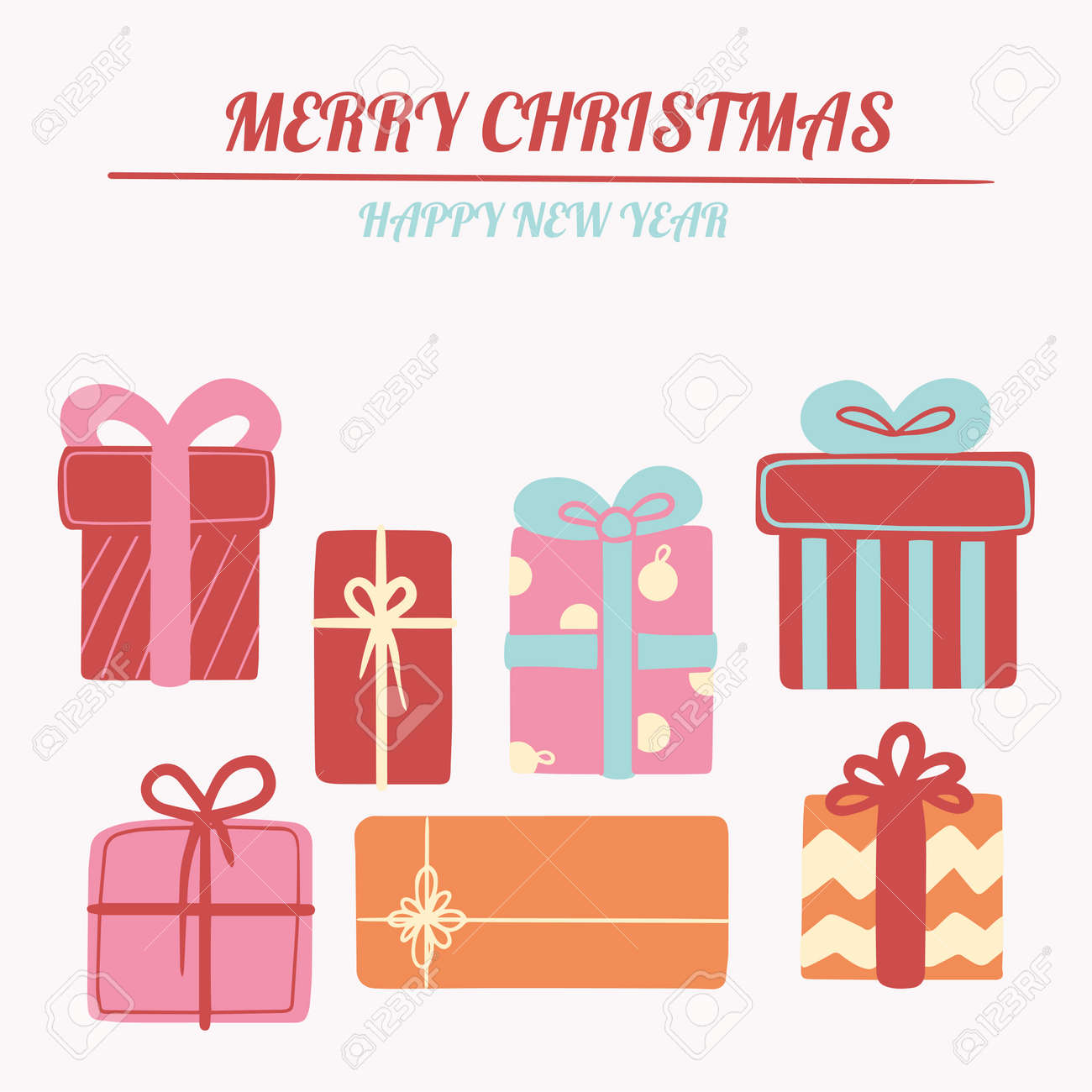 Christmas illustration, New Year card with a set of cute gifts. Vector banner for social networks, postcards, marketing materials, textures, social networks, mobile applications. - 159029334