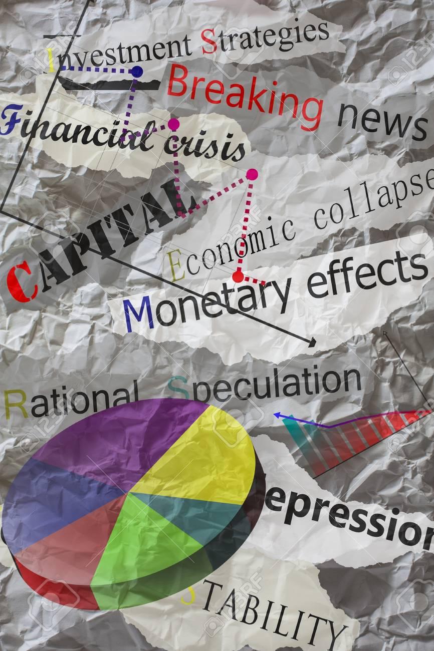 newspaper headlines with creased paper,economy Stock Photo - 14915892