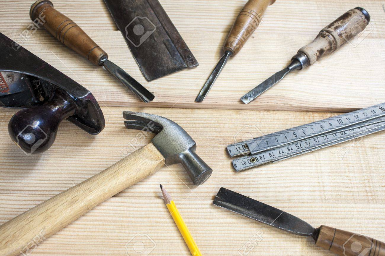 joiner tools on wood table background Stock Photo - 14915868