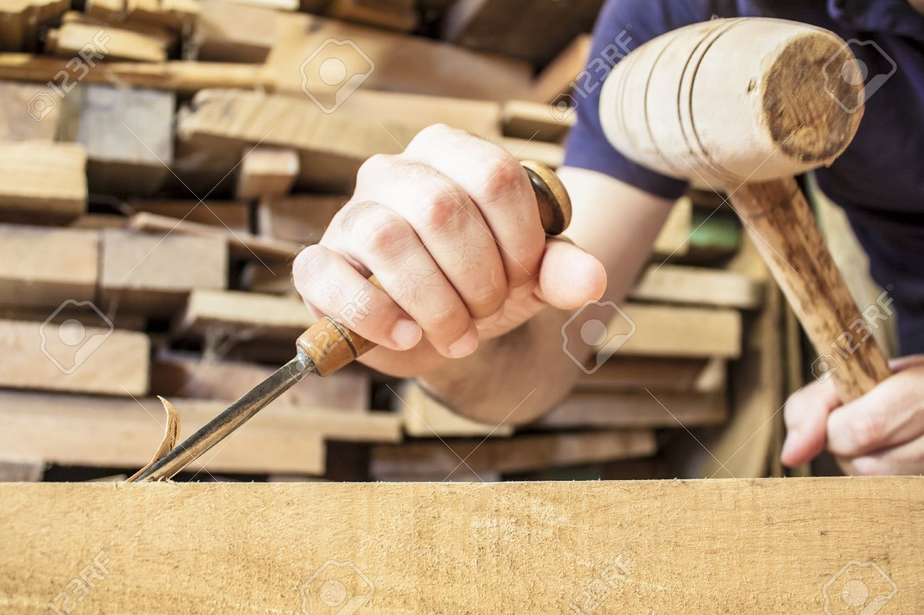 gouge wood chisel carpenter tool working wooden background Stock Photo - 15171511