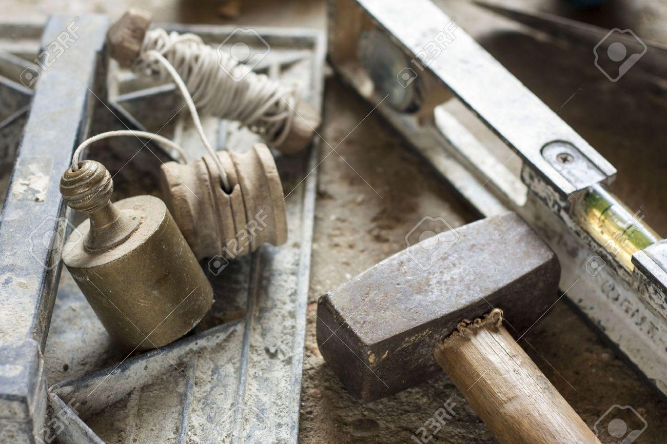 Construction masonry cement mortar tools Stock Photo - 16030202