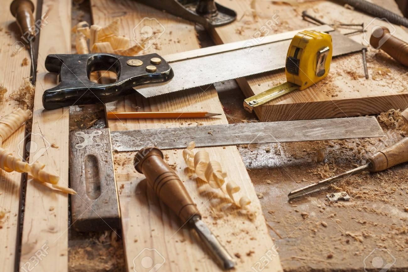 Carpenter Tools In Pine Wood Table Stock Photo Picture And Royalty