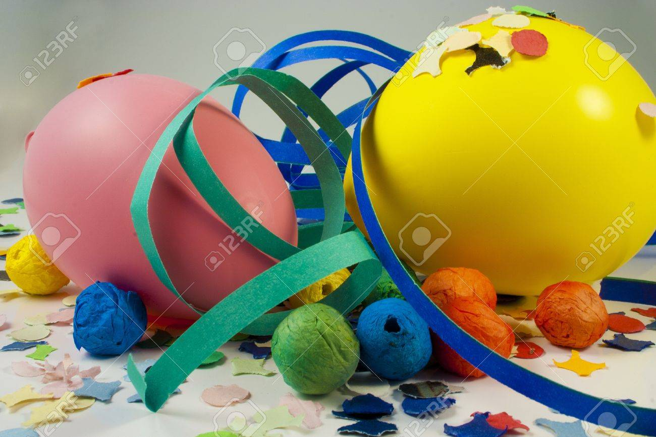 Balloons and Streamers and confetti to party on carnival Stock Photo - 8947400