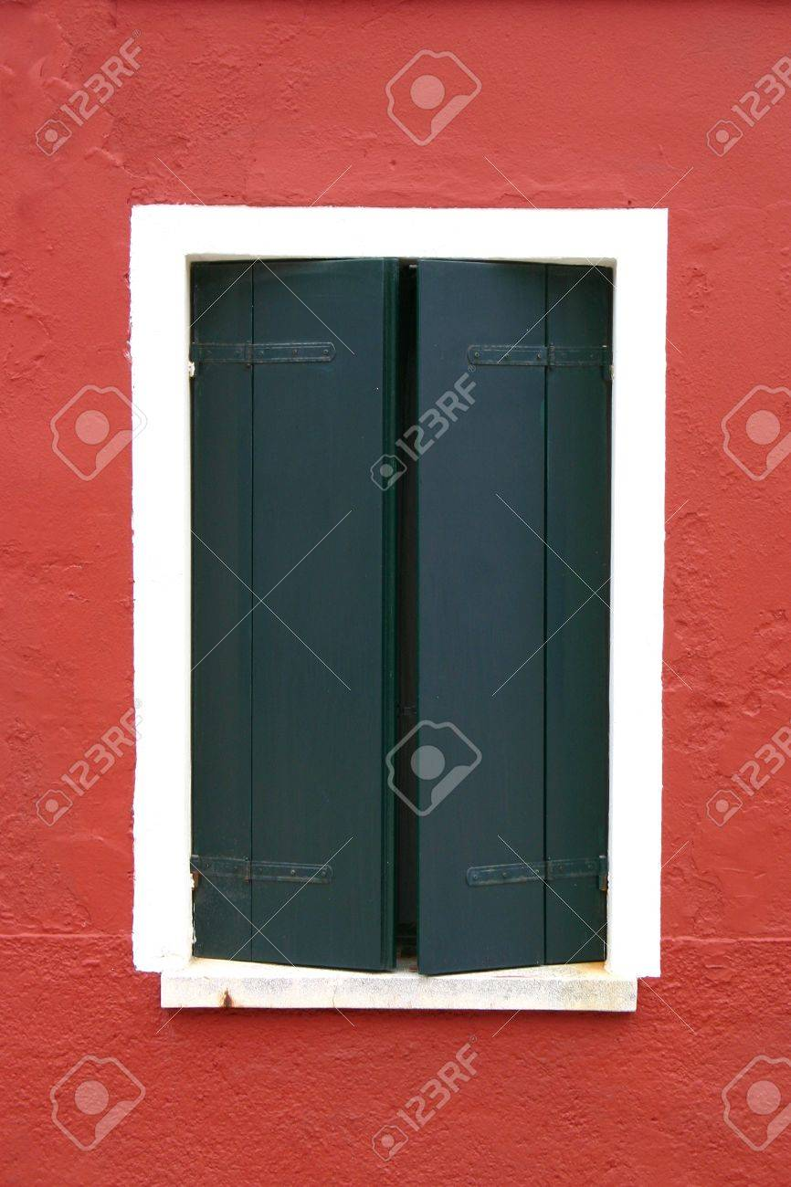 Window of one of the colored houses in Burano - Venice - Italy Stock Photo - 12760516