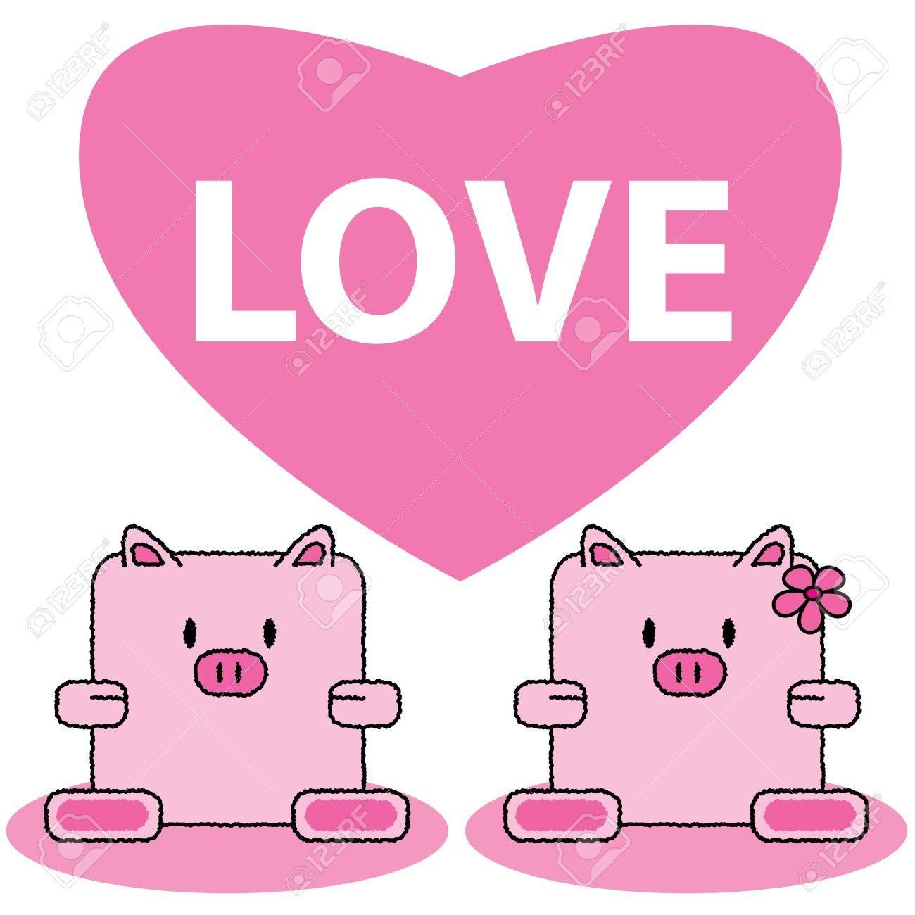 カップル豚かわいい漫画ベクトル イラストの恋のイラスト素材ベクタ