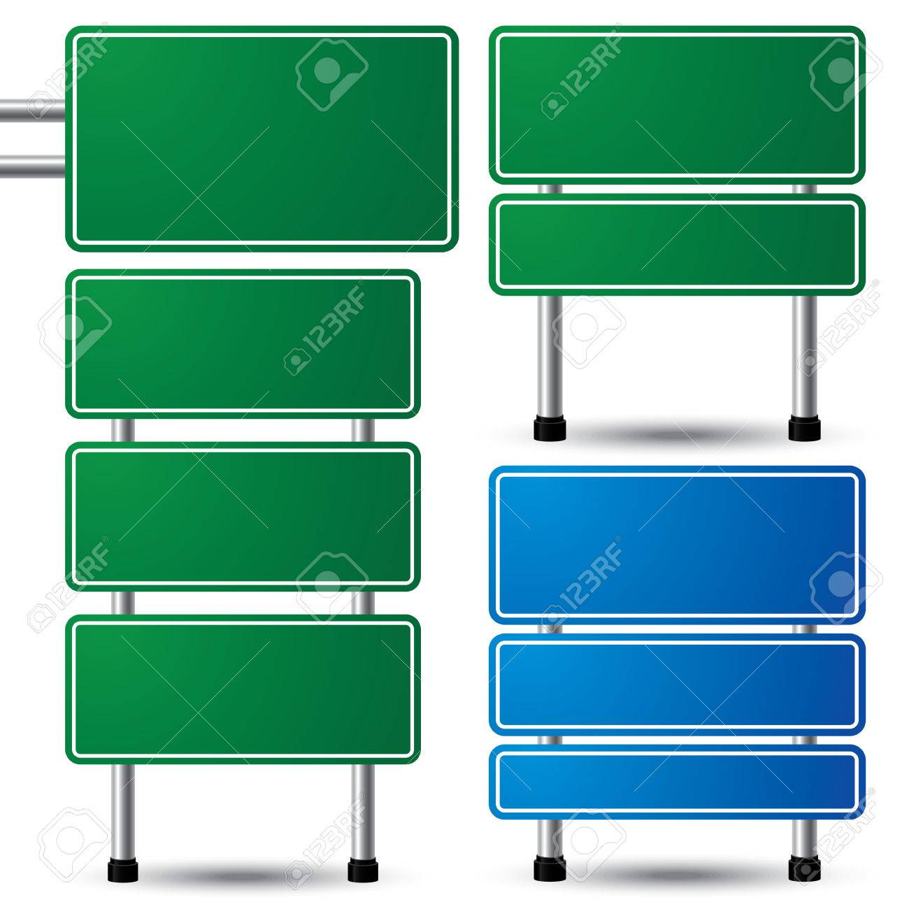 Blank green and blue traffic road sign set on white background for your message  vector illustration Stock Vector - 22699290