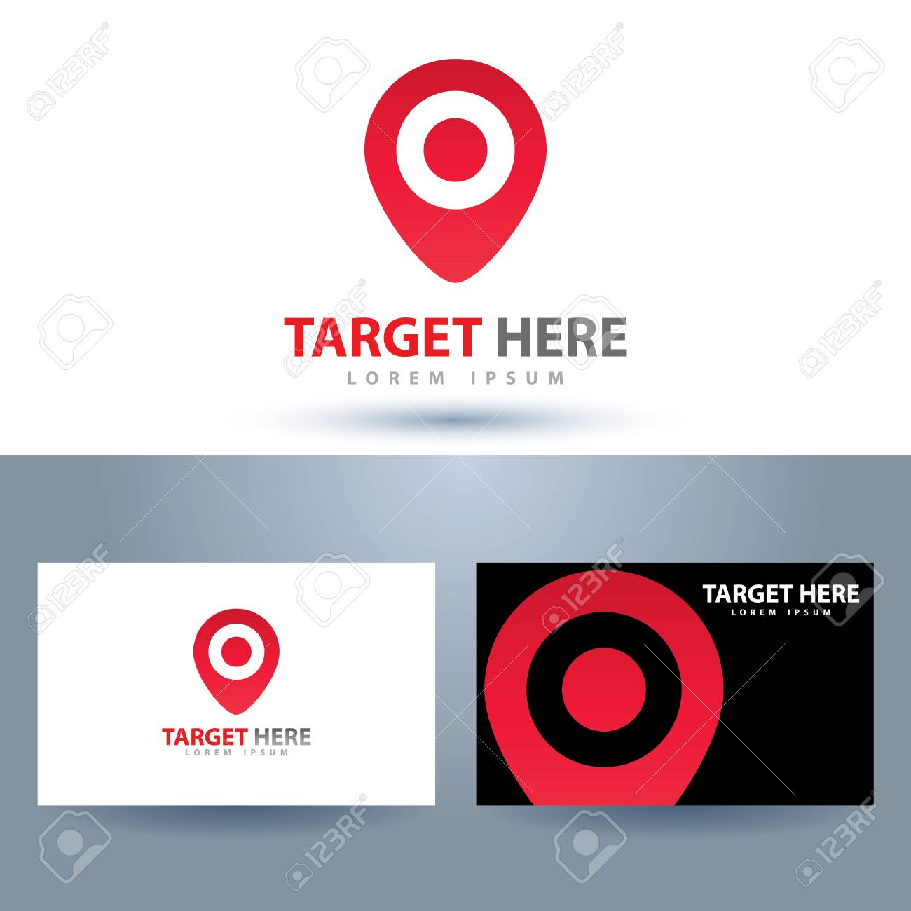 Target Here Symbol Icon. Design Element With Business Card Template ...