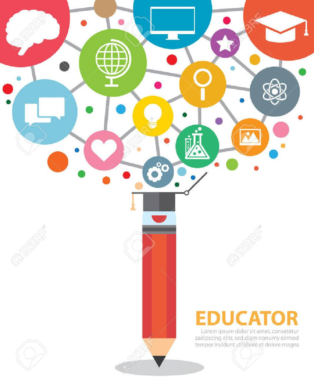 Open creative pencil with icons of education. Vector illustration. Modern educator concept - 30150949