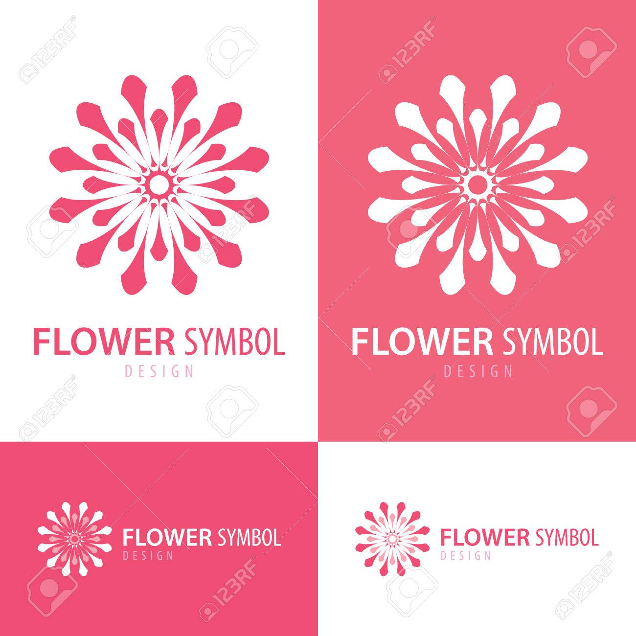 Pink And White Flower Symbol Icon Design With Business Card