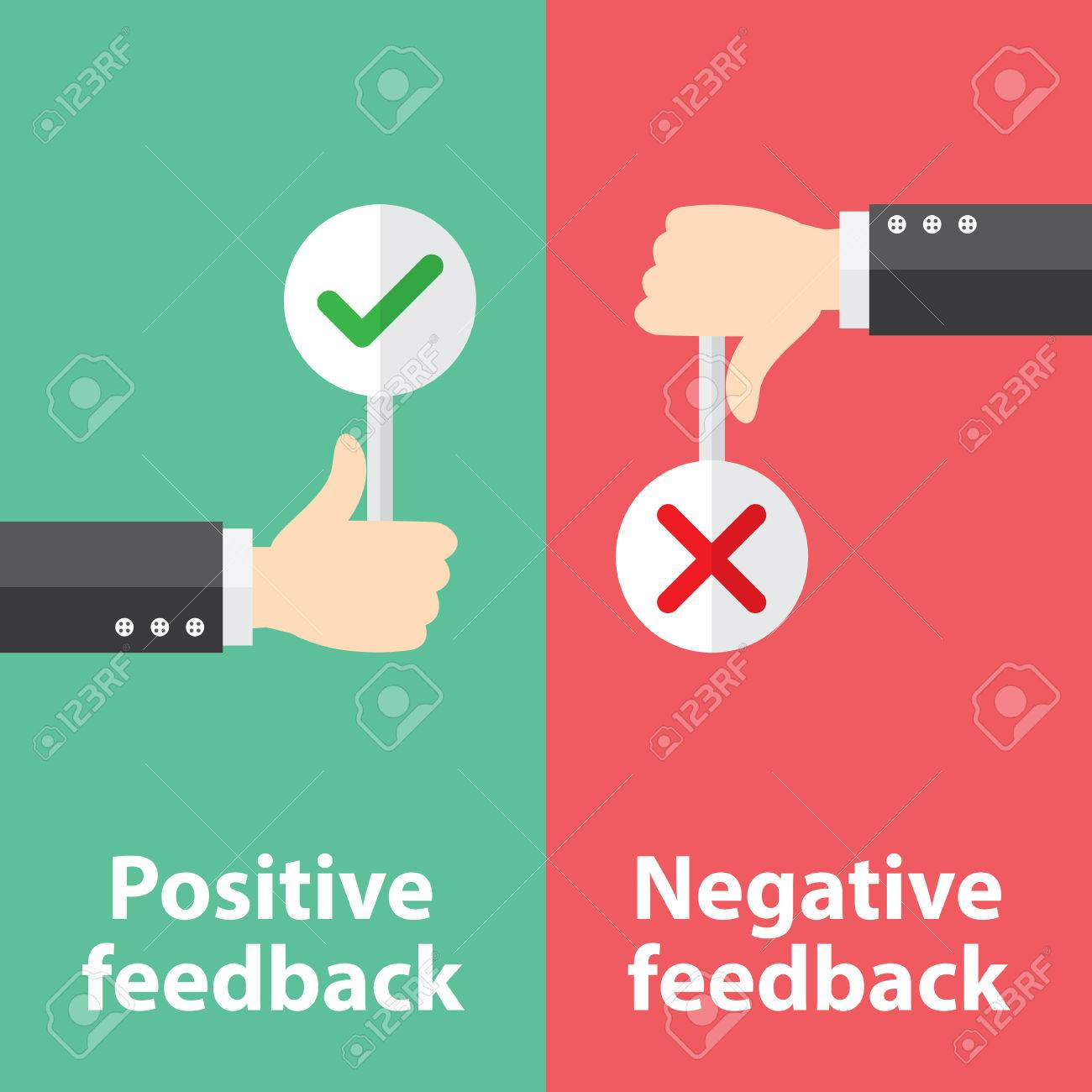 Business hand thumb up with true and false sign. Vector illustration of positive and negative feedback concept. Minimal and flat design - 31476454