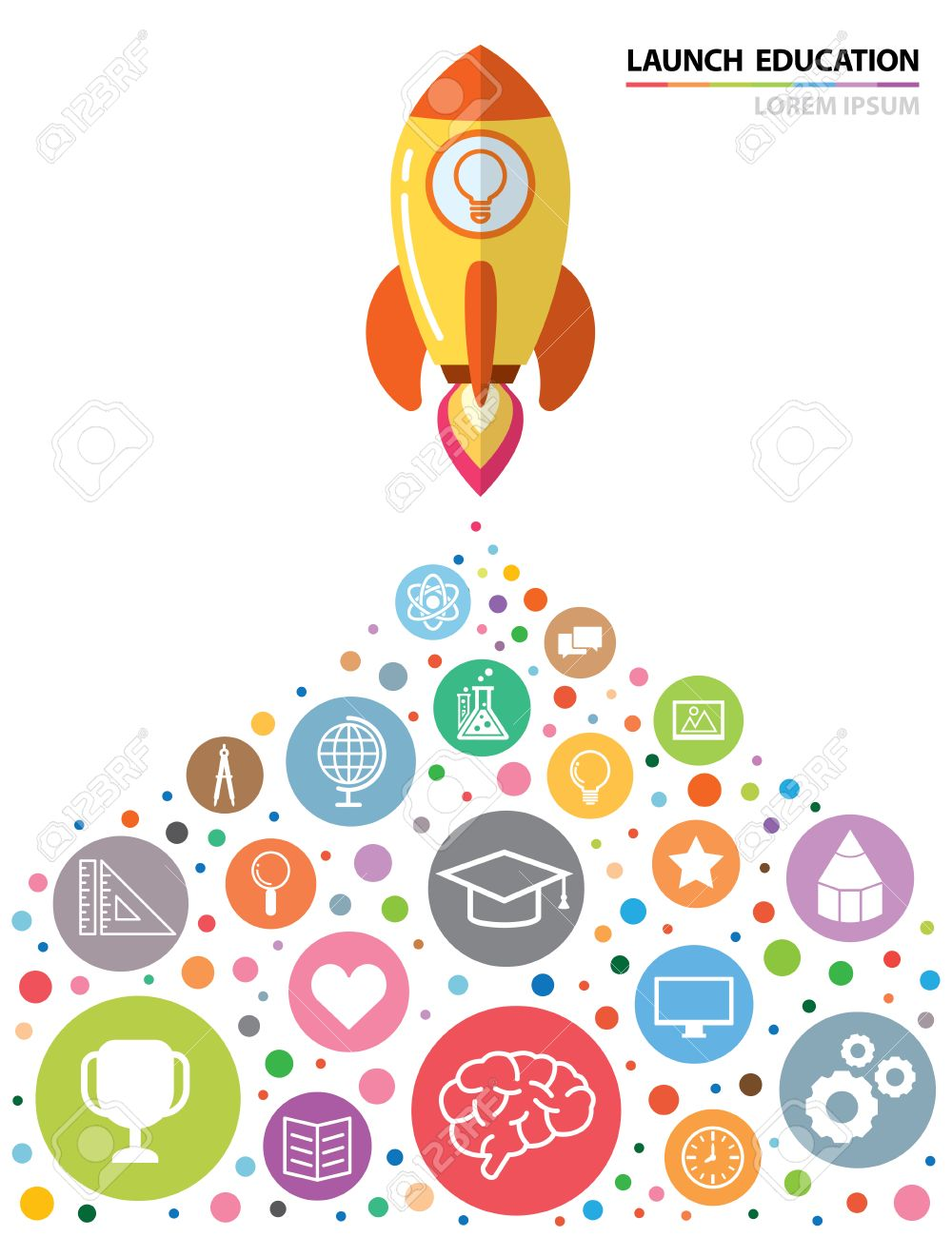 Poster design education - Launch Rocket With Education Icon Creative Concept Vector Illustration Flat Design Can