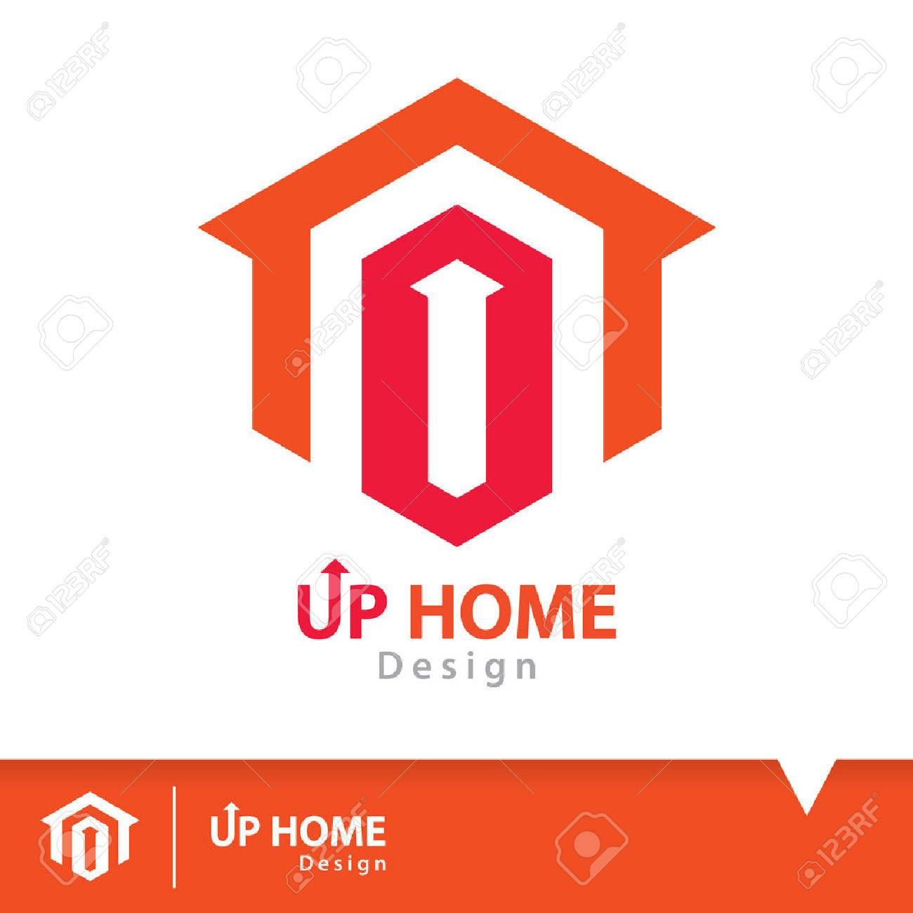 Abstract Up Arrow On Red Hexagon Shape With Orange Home Icon ...
