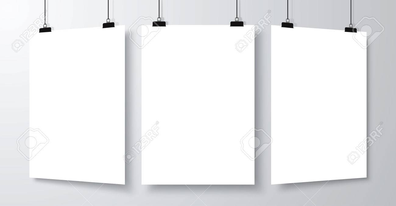 Set Of Blank Empty Poster Mockup Template With Shadow. Vector ...