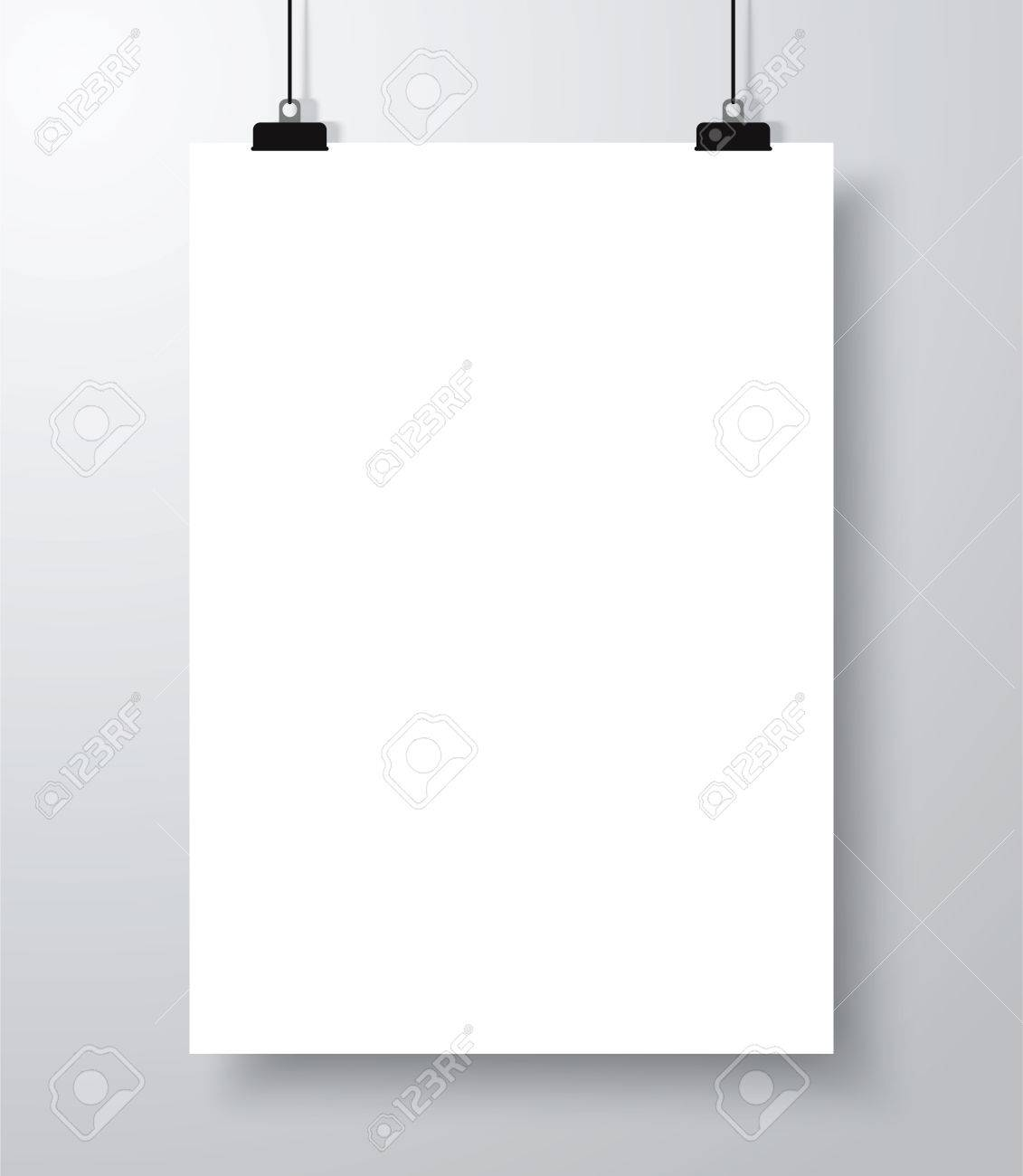 Blank Empty Poster Mockup Template With Shadow. Royalty Free ...