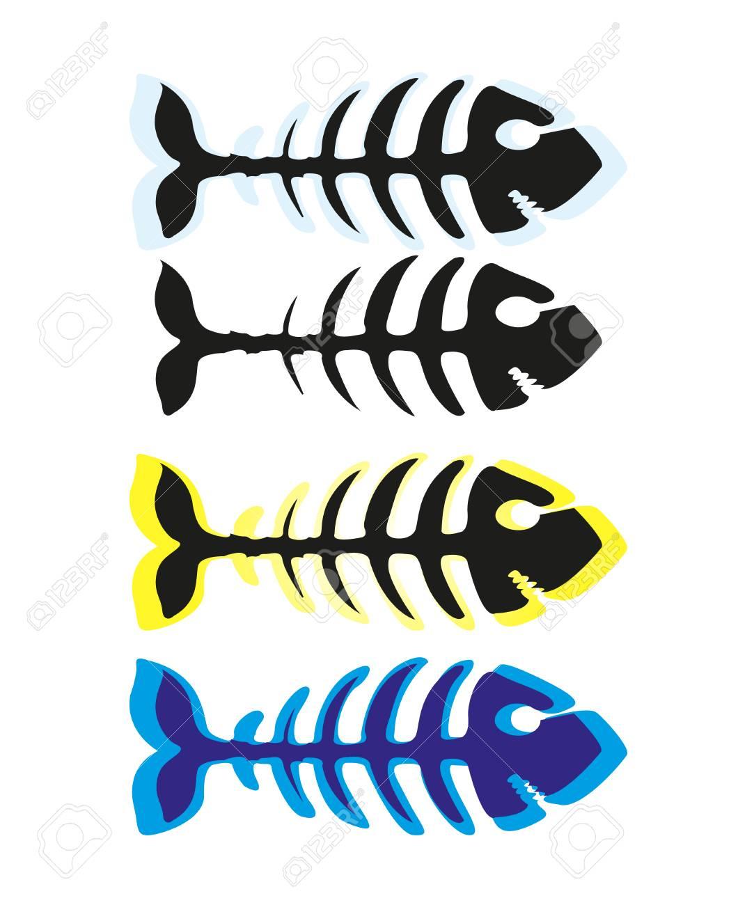 Fish skeleton icon illustration isolated on white background - 126086840