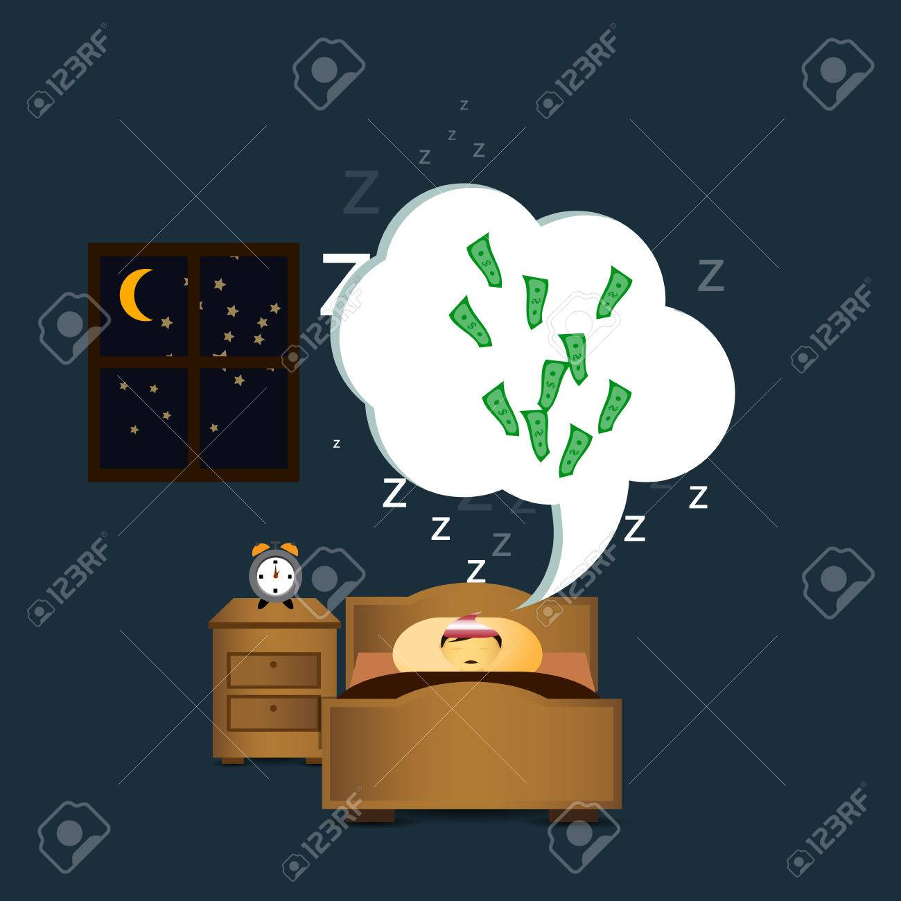 Sleeping Persondreaming Money Stock Vector