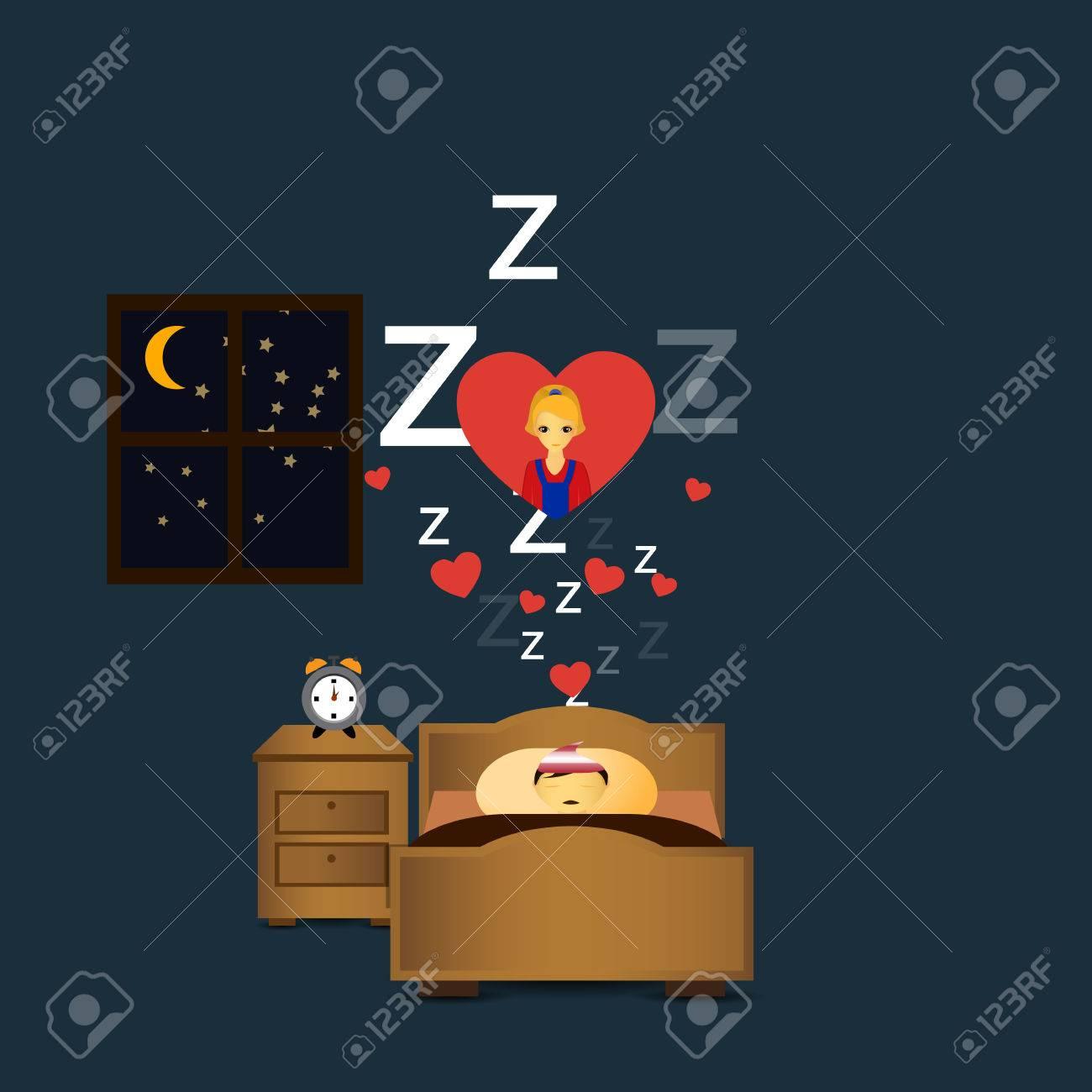 Sleeping Persondreaming Love Stock Vector