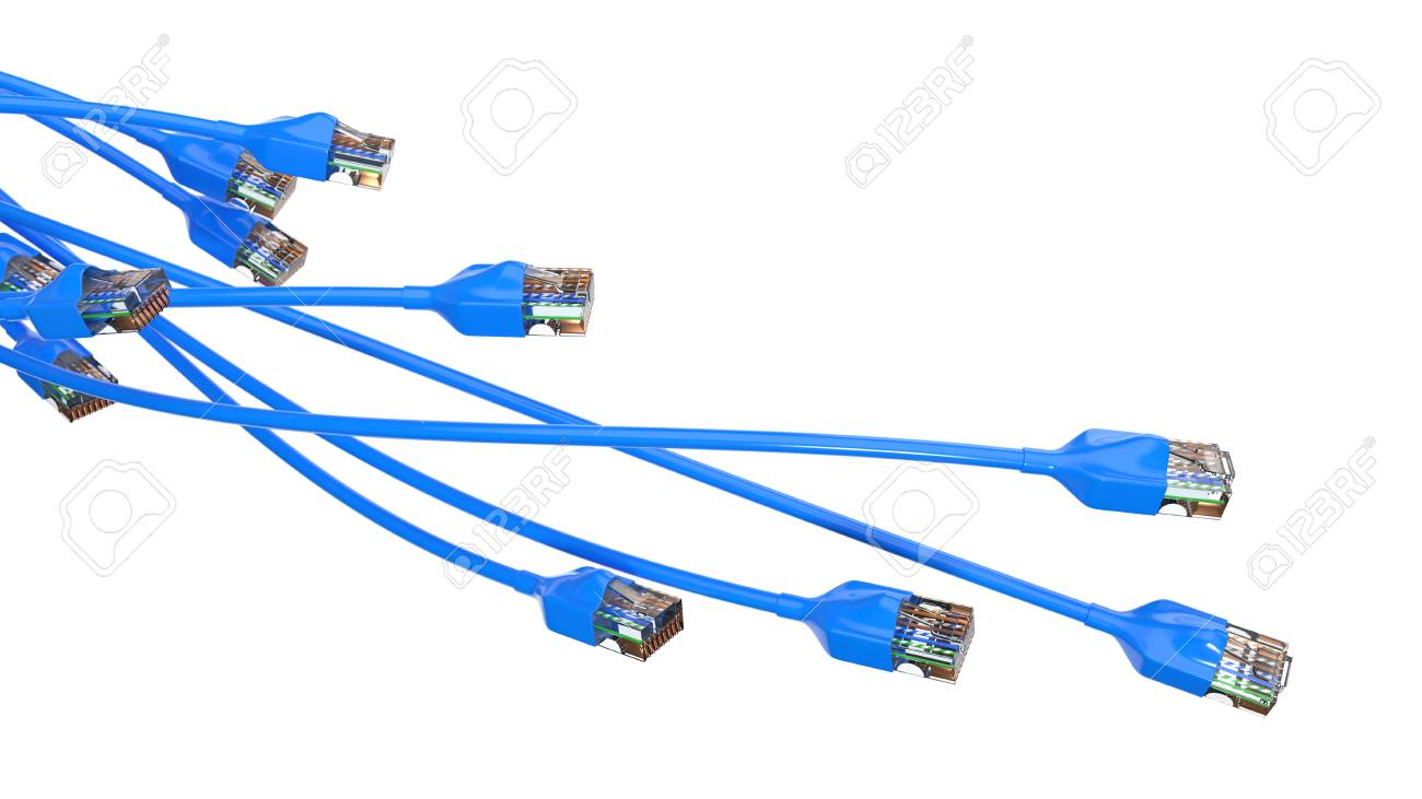 Twisting Blue Internet Cables Conceptual 3d Illustration Of Stock Cable Wiring Ethernet And Rj 45 Plug