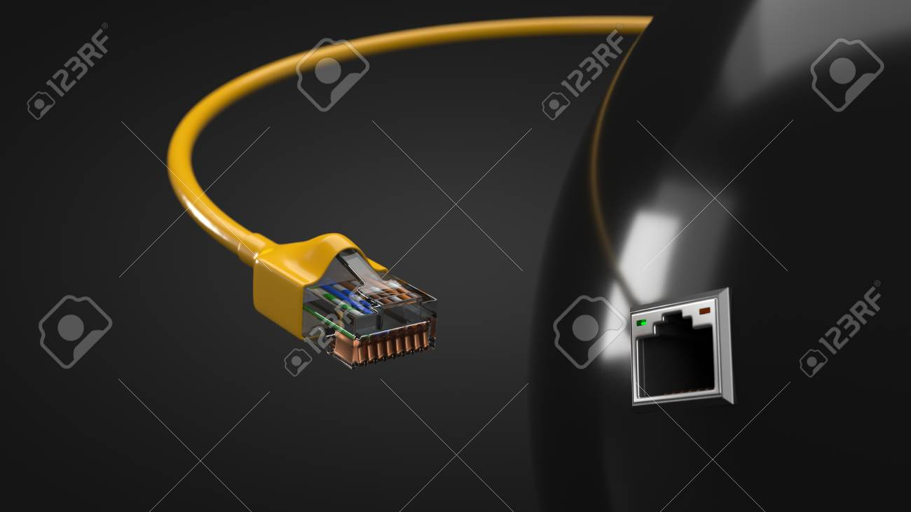 Internet Cable And Tech Hub Sphere. Conceptual 3d Illustration ...