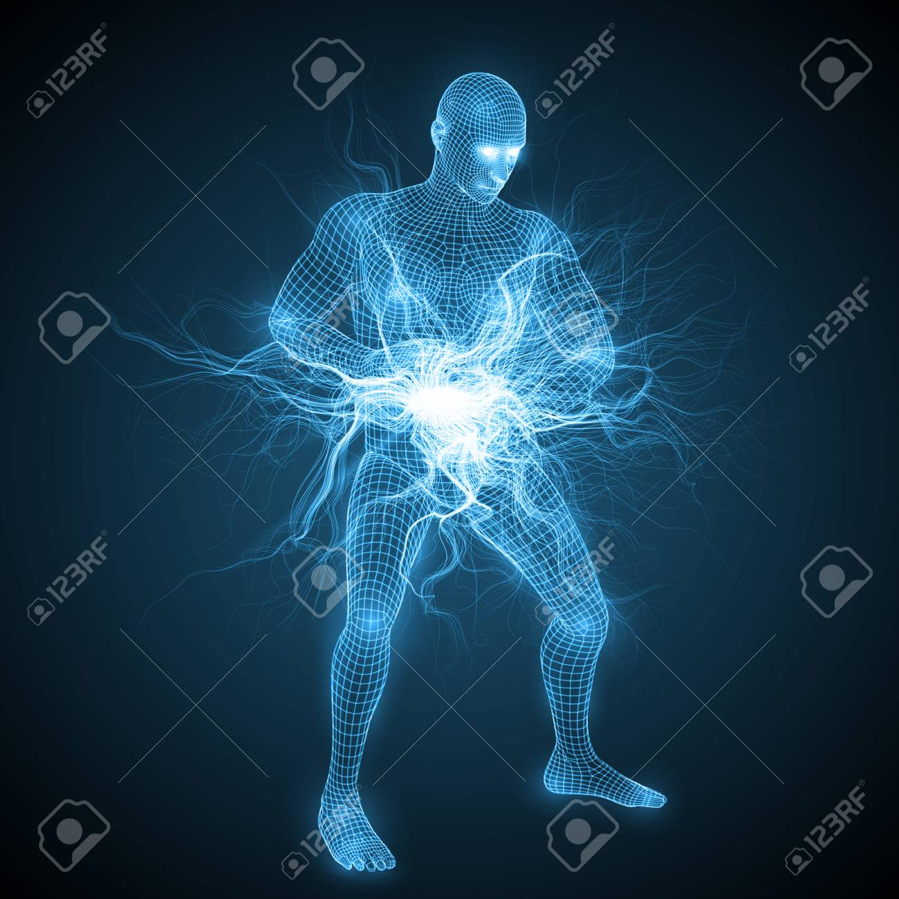 making tai chi spiritual energy ball. collecting energy of nature between hands. spiritual energy beams inside head and torso. blue version. suitable for any technology, future and ai themes. - 115044241