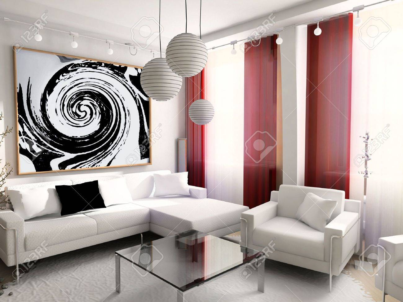 Modern Interior House Dwelling Design Technology 3d Stock