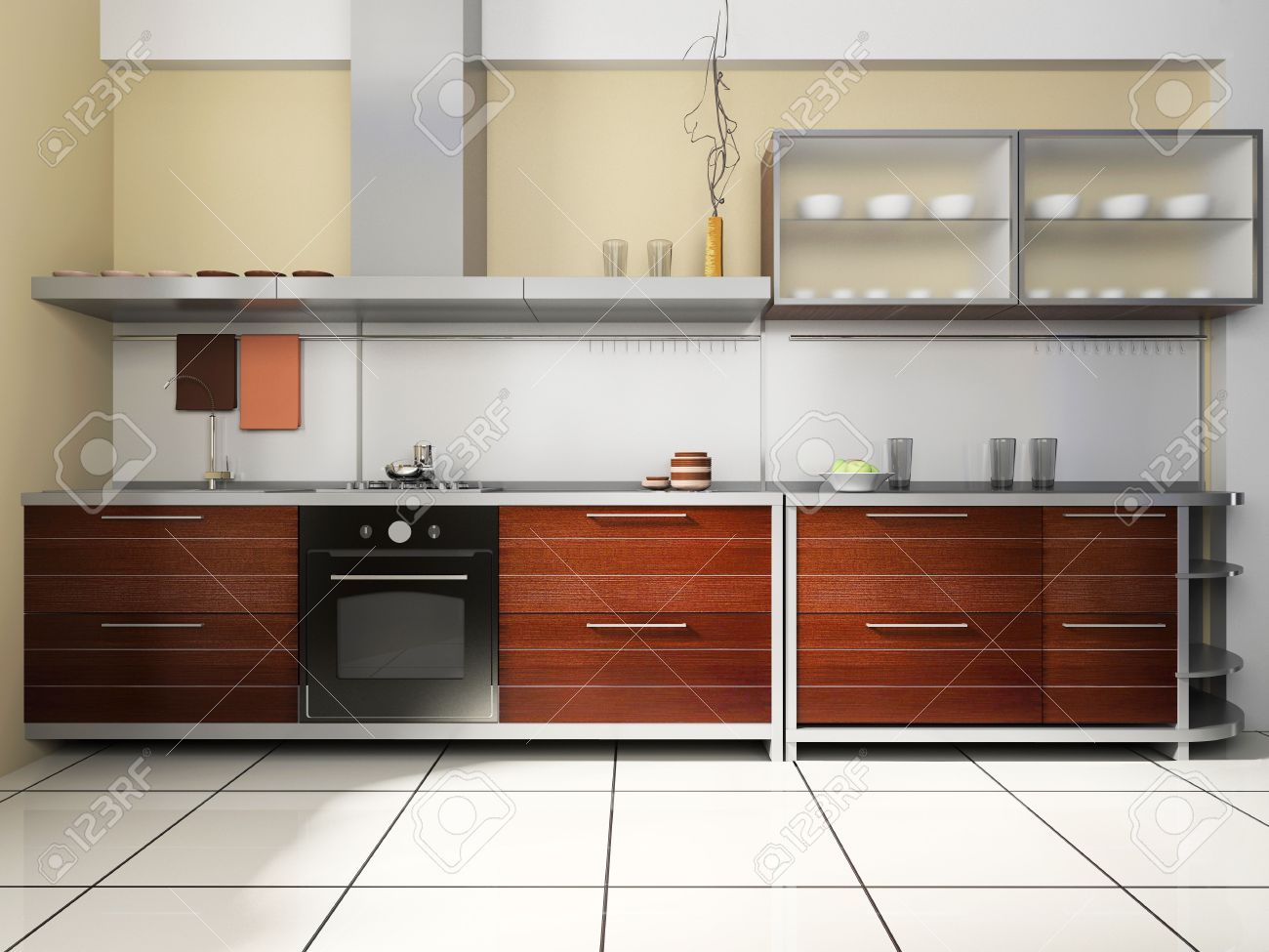 Kitchen Wall Background Kitchen Set On A Background Of Wall Stock Photo Picture And