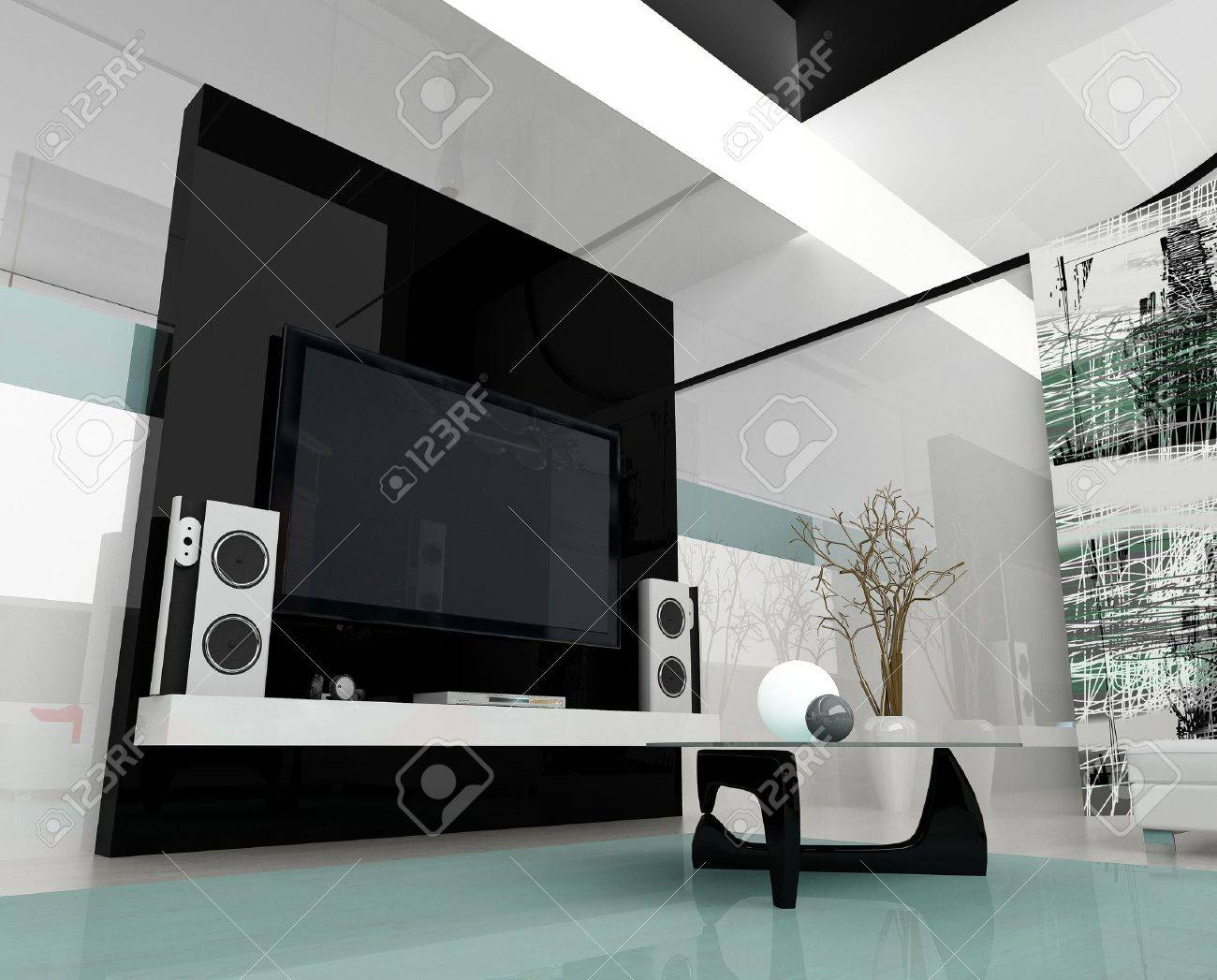 Interior of a modern white drawing tv room Stock Photo - 2409662