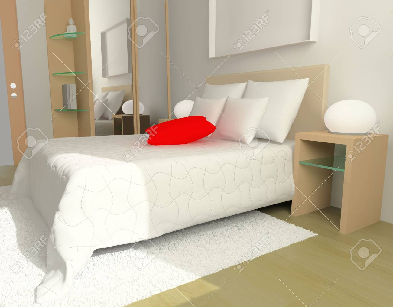 Interior of a sleeping room 3d render Stock Photo - 3246432