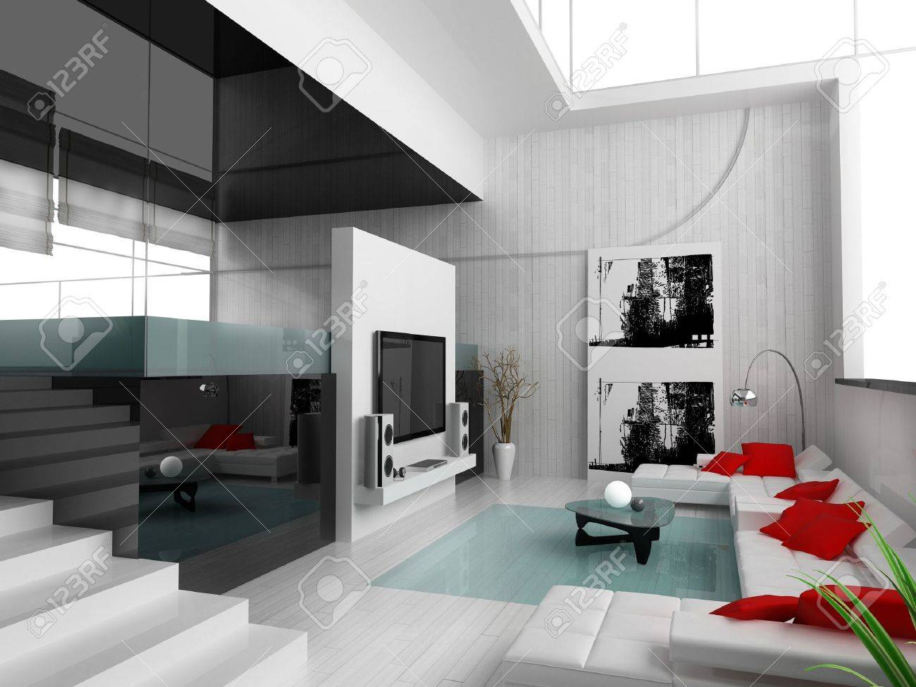 Interior of a modern white drawing tv room Stock Photo - 3530786
