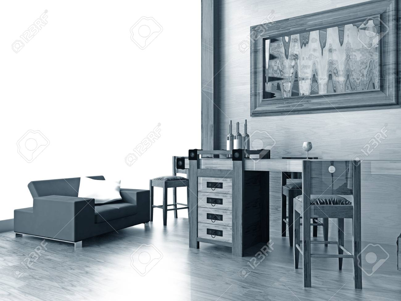 Bar in a hall of hotel 3d image Stock Photo - 4226837